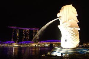 Merlion in der Bay Area von Singapur